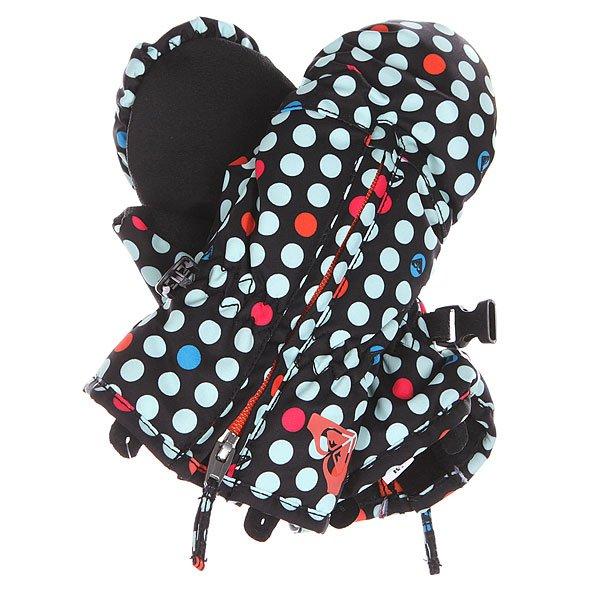 Варежки сноубордические детские Roxy Snows Up Mitt Dots SpotsПерчатки<br>Сноубордические варежки Roxy для девочек из зимней коллекции технологичных спортивных аксессуаров. Характеристики: Водостойкая и дышащая мембранная ткань Dry Flight 5К (5 000 мм /5 000 г). Утеплитель 3M™ Thinsulate™ type J (160 г). Мягкая трикотажная подкладка с начесом. Эгрономичный крой. Застежка – молния.<br><br>Размер EU: M<br>Цвет: черный<br>Тип: Варежки сноубордические<br>Возраст: Детский