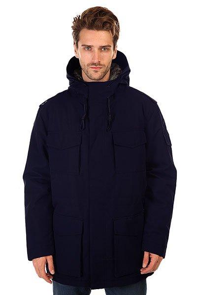 Куртка DC Inward AnthraciteКуртки и Парки<br>Мужская  куртка подходит как для ежедневных прогулок, так и для активного отдыха.  Влагостойкая ткань Exotex надежно защитит от промокания, а подкладка из тафты добавит мягкости и удобства. <br>Технические характеристики: Подкладка - тафта.Водонепроницаемая мембрана Exotex 10K (10 000 мм / 10 000 г).Критические швы проклеены.Высокий воротник стойка.Фиксированный складной капюшон.Капюшон с 2 вариантами регулировки.Нагрудные карманы на скрытой кнопке.Карманы для рук с верхним и боковым доступом.Застежка - молния и кнопки.Декоративные эполеты на плечах.Фасон - стандартный (regular fit).<br><br>Размер EU: L<br>Размер EU: XL<br>Цвет: синий<br>Тип: Куртка утепленная<br>Возраст: Взрослый<br>Пол: Мужской