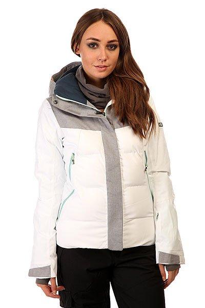 Куртка женская Roxy Flicker Jk Bright White BIOTHERMКуртки<br>Женская куртка для зимних видов спорта Roxy Flicker. Сделана из полиэстера, одобренного международной экологической организацией Bluesign®.Характеристики:Водостойкая и дышащая мембрана DRY-FLIGHT 15K (15 / 15). Критические швы проклеены. Утеплитель: тело - 3M™ Thinsulate™ тип TIB (350 гр), рукава и плечи - 3M™ Thinsulate™ тип М (100гр). Легкая подкладка из тафеты.  Фиксированная снежная юбка. Система крепления к штанам. Карман для медиа. Карман для ски-пасса. Внутренний карман для маски с материалом для протирки линз. Регулируемые манжеты, внутренние эластичные манжеты.  Вентиляционные вставки под руками. Зауженный крой.<br><br>Размер EU: S<br>Размер EU: M<br>Размер EU: L<br>Размер EU: XL<br>Цвет: белый,серый<br>Тип: Куртка утепленная<br>Возраст: Взрослый<br>Пол: Женский