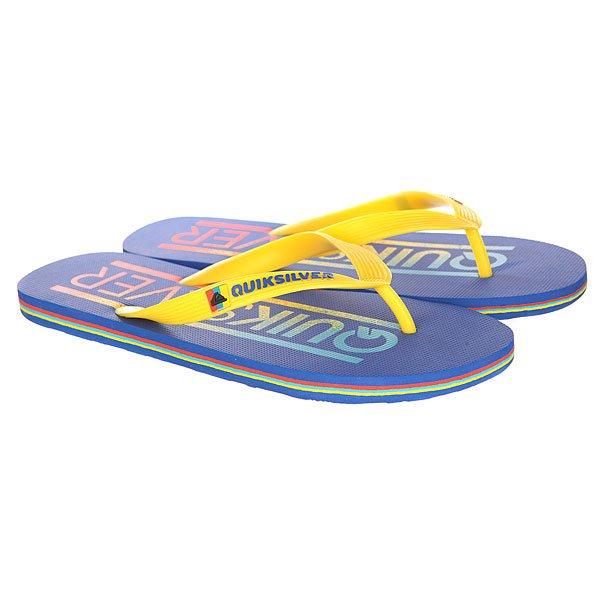 Вьетнамки Quiksilver Molokai Wordmar Sndl Blue/Yellow/BlueСланцы<br>Вьетнамки Quiksilver MOLOKAI составят вам отличную компанию на пляже и у бассейна.Характеристики:Лямки из синтетического каучука.Разноцветная прочная подошва из мягкого пористого каучука.<br><br>Размер EU: 39<br>Размер US: 6<br>Размер CM: 25<br>Размер EU: 40<br>Размер US: 7<br>Размер CM: 25.5<br>Размер EU: 41<br>Размер US: 8<br>Размер CM: 26.5<br>Размер EU: 42<br>Размер US: 9<br>Размер CM: 27<br>Размер EU: 44<br>Размер US: 11<br>Размер CM: 28.5<br>Размер EU: Quik man B: 12us 45eur 29.25cm<br>Размер EU: Quik man B: 13us 46eur 29.75cm<br>Размер EU: 43<br>Размер US: 10<br>Размер CM: 27.5<br>Цвет: синий,желтый<br>Тип: Вьетнамки<br>Возраст: Взрослый<br>Пол: Мужской