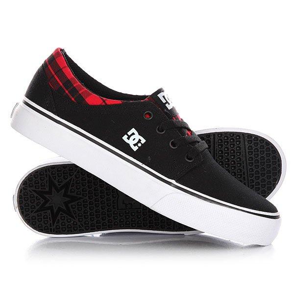 Кеды кроссовки низкие детские DC Trase Tx Se Black/Red Plaid