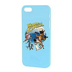 Чехол для iPhone Белка и Стрелка Матовый Голубой Звездые Собаки